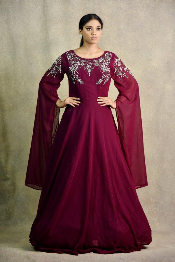 Wine Gown Anarkali Dress | Surya Sarees | House of surya | chandni chowk | Old Delhi