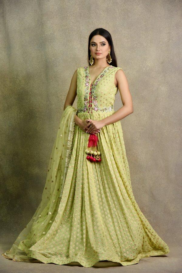 Pista Green Color Anarkali Dress | Surya Sarees | House of surya | chandni chowk | Old Delhi