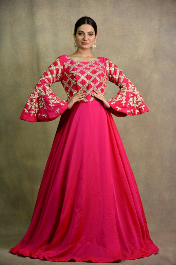 Hot Pink Gown Anarkali Dress | Surya Sarees | House of surya | chandni chowk | Old Delhi