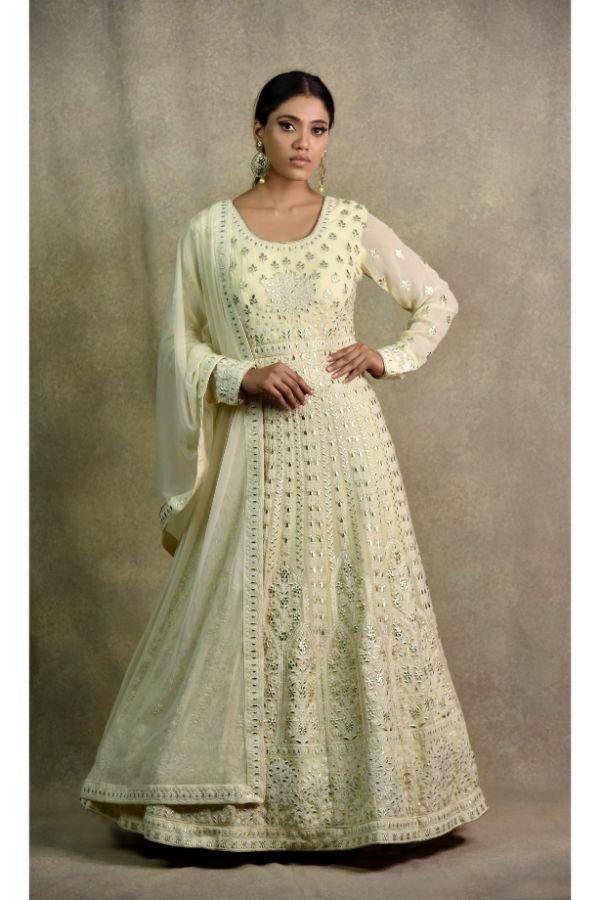 Light Gold Anarkali Dress | surya sarees | House of surya