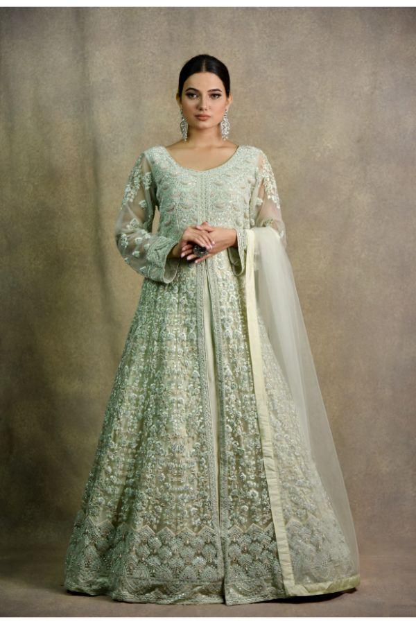Pista Green Color Anarkali | Surya Sarees | House of surya | chandni chowk | Old Delhi