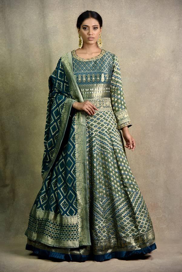 Peacock Blue Anarkali Dress   Surya Sarees   House of surya   chandni chowk   Old Delhi