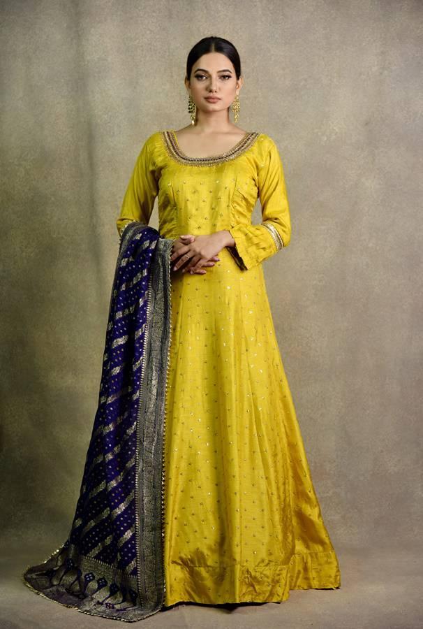Surya Sarees   Mustard Anarkali Dress   House of Surya