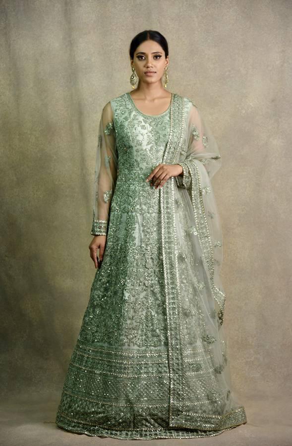 Pista Green Anarkali Dress   Surya Sarees   House of surya   chandni chowk   Old Delhi