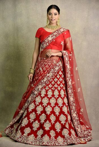 Buy cherry red bridal lahenga for wedding