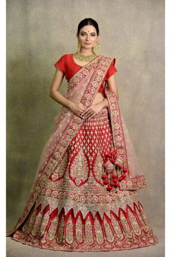 Coral Red Lehenga | surya sarees | House of Surya