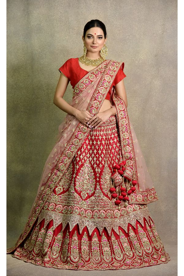 Coral Red Lehenga | surya sarees | House of Surya