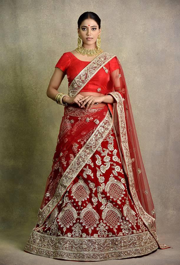 Cherry Mehroon Bridal Lehenga | Surya sarees | House of surya