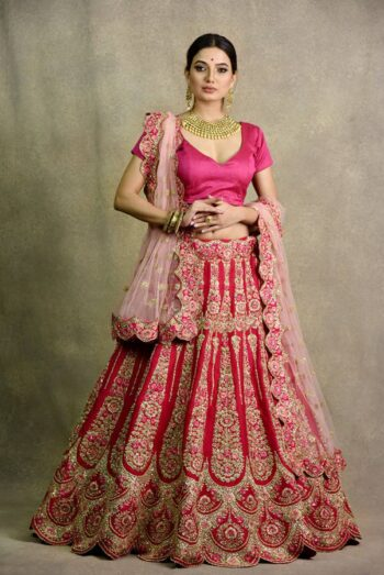 Coral Red Bridal Lehenga | Surya sarees | House of Surya