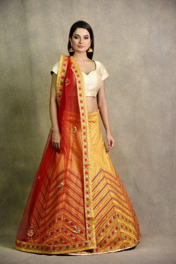 Mustard Non Bridal Lehenga | surya sarees | House of Surya