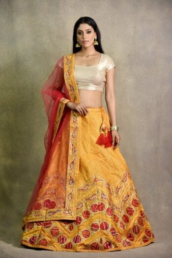 Haldi Yellow Non Bridal Lehenga | surya sarees | House of surya