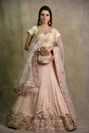 Surya Sarees | Powder Pink Non-Bridal Lehenga | House of Surya
