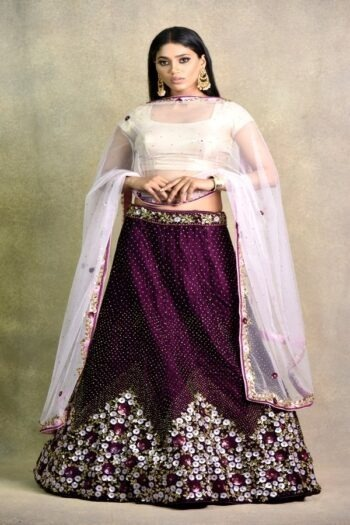 Cocktail Wine Non Bridal Lehenga | Surya sarees | House of surya
