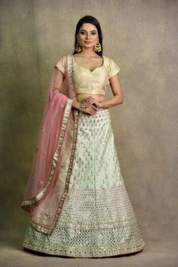 Mint Green Non Bridal Lehenga | Surya sarees | house of Surya