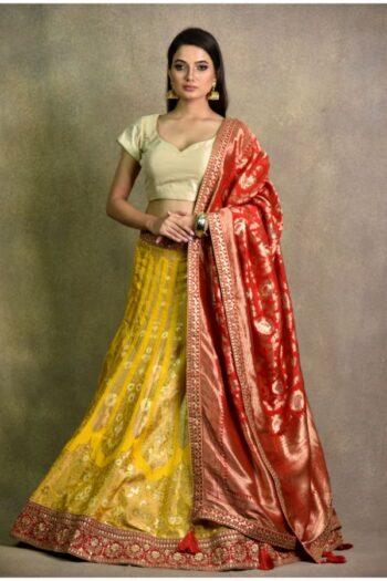 Haldi Yellow Non Bridal Lehenga   Surya sarees   House of surya