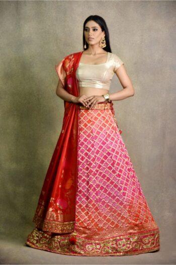 Orange Pink Non Bridal Lehenga | surya sarees | house of surya