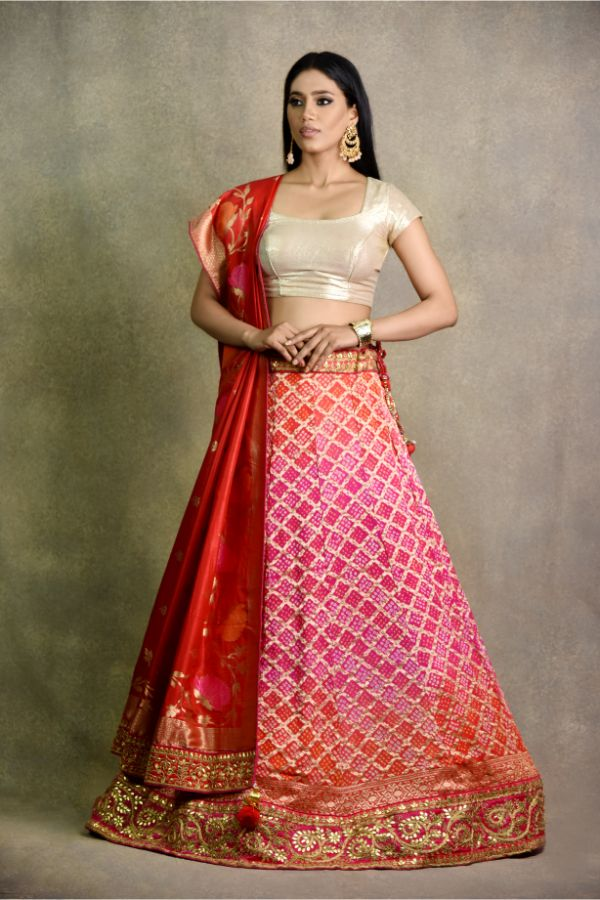 Orange Pink Non Bridal Lehenga | surya sarees | house of surya