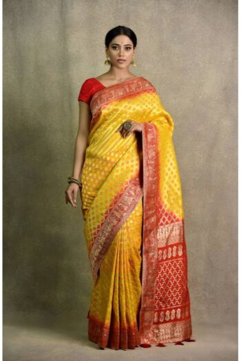 Yellow Red Saree | Surya saree | House of surya