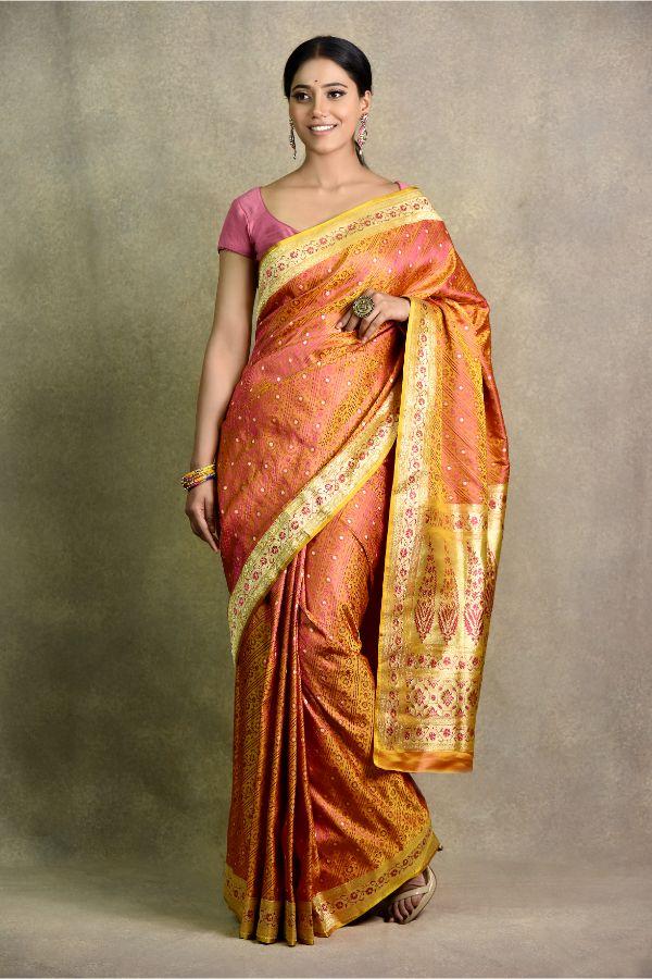 Short Yellow Saree   Surya Sarees   House of Surya
