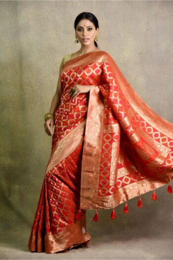 Red Saree in silk | House of Surya | Surya sarees