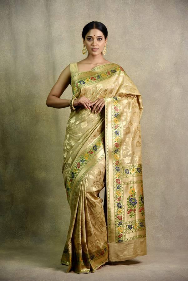Traditional silk chikoo saree | Surya Sarees | House of surya | chandni chowk | Old Delhi