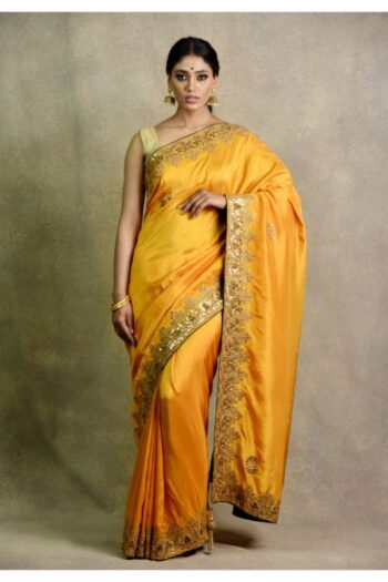 Mustard Bottle Green Saree for haldi