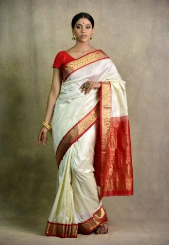 Buy trendy off white and red saree in india