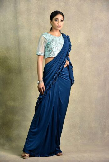 peacock blue | ice blue saree | Surya Sarees | House of surya | chandni chowk | Old Delhi
