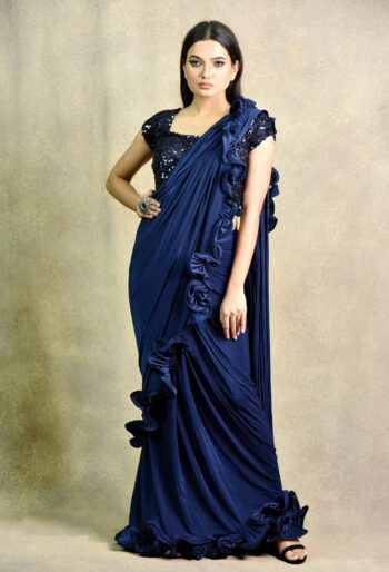 Buy latest navy blue saree in india