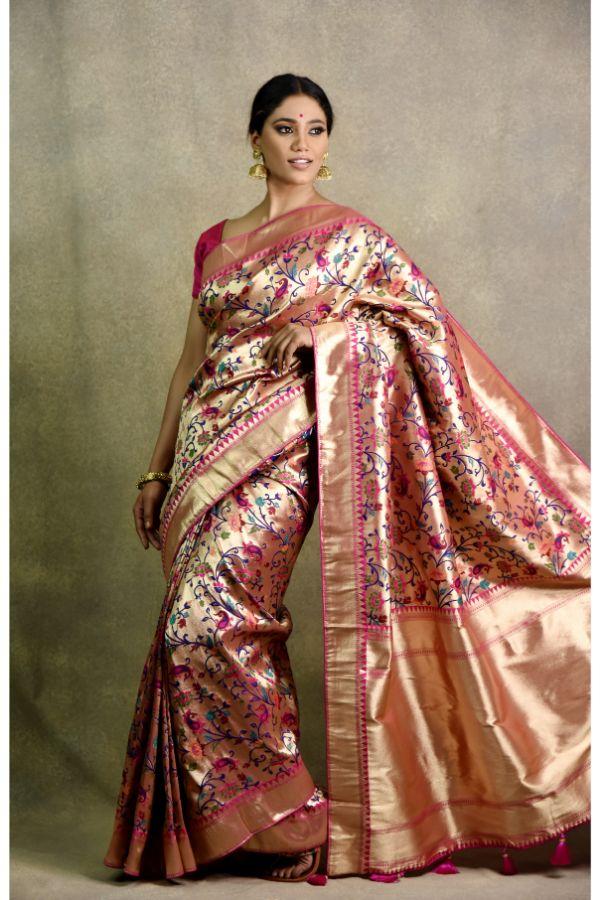 Silk Golden Saree | Surya sarees | House of surya
