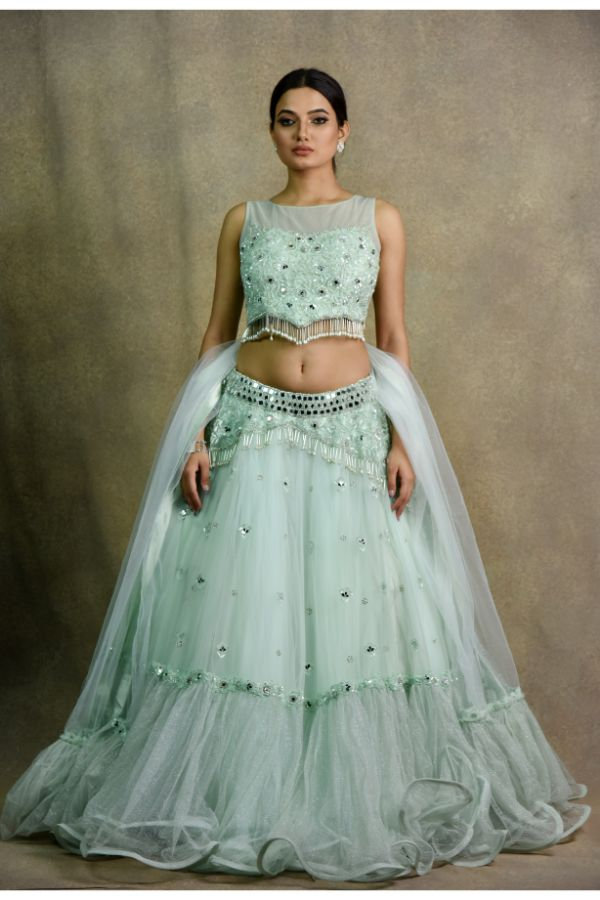 Mint Green Lehenga Choli | Surya Sarees | House of Surya
