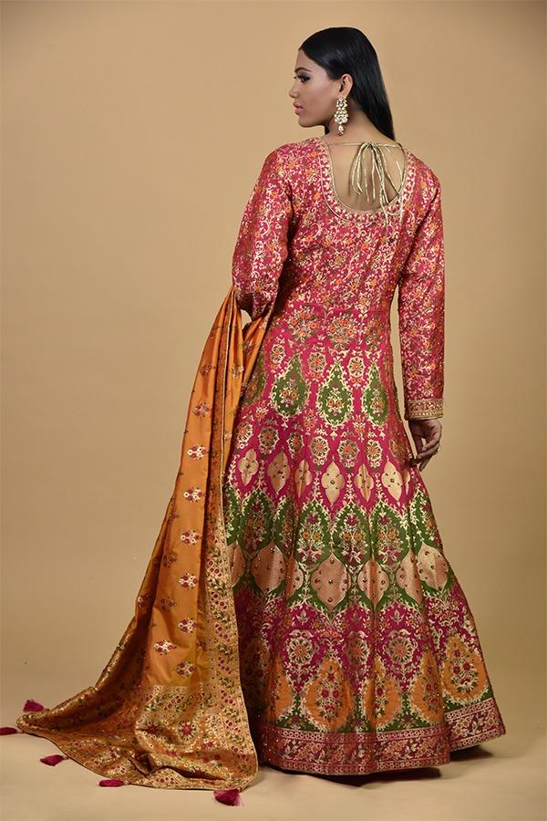 Fascia Pink with Green Anarkali Dress