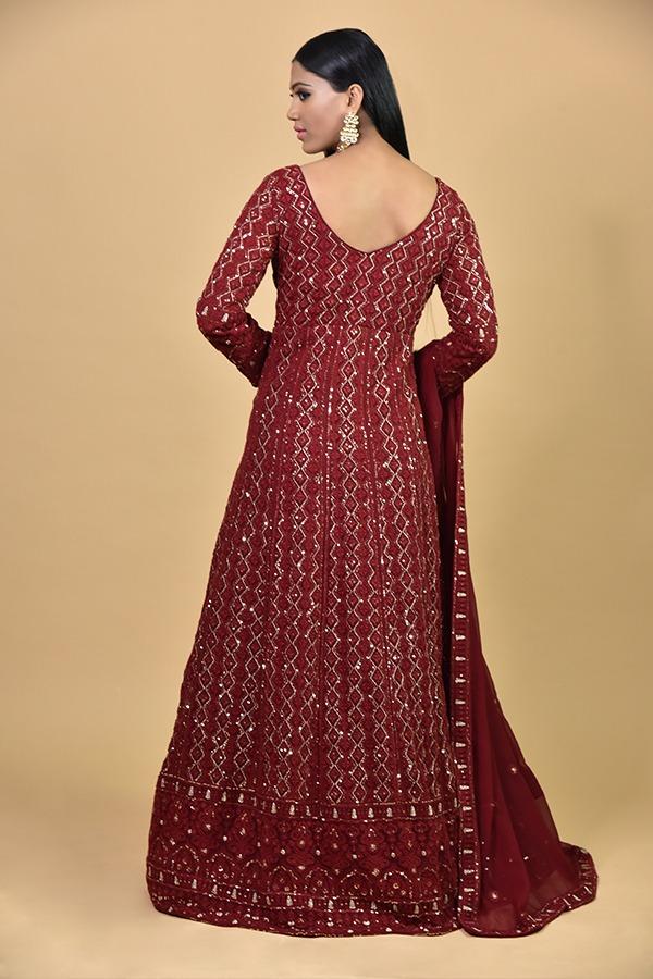 Maroon Ananrkali Dress
