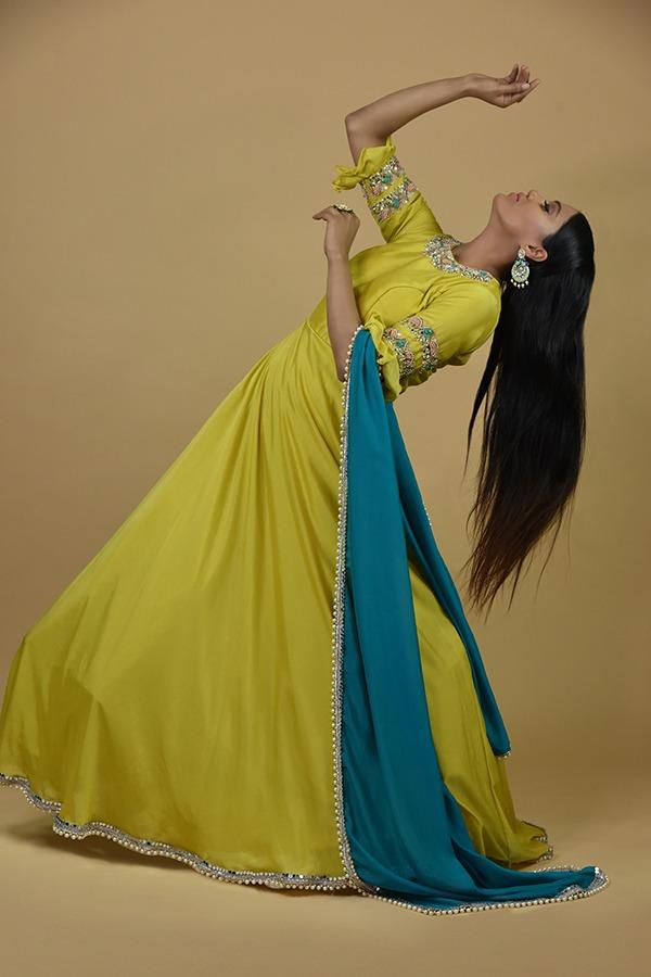 Light Lemon Anarkali Dress