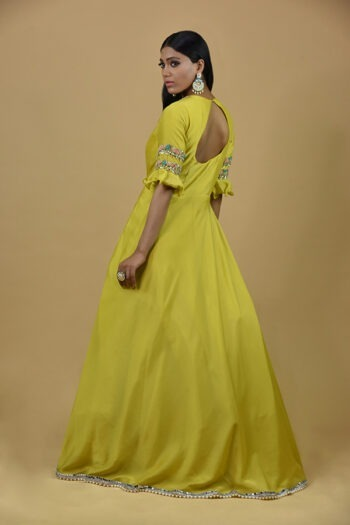 Light Lemon Anarkali Dress
