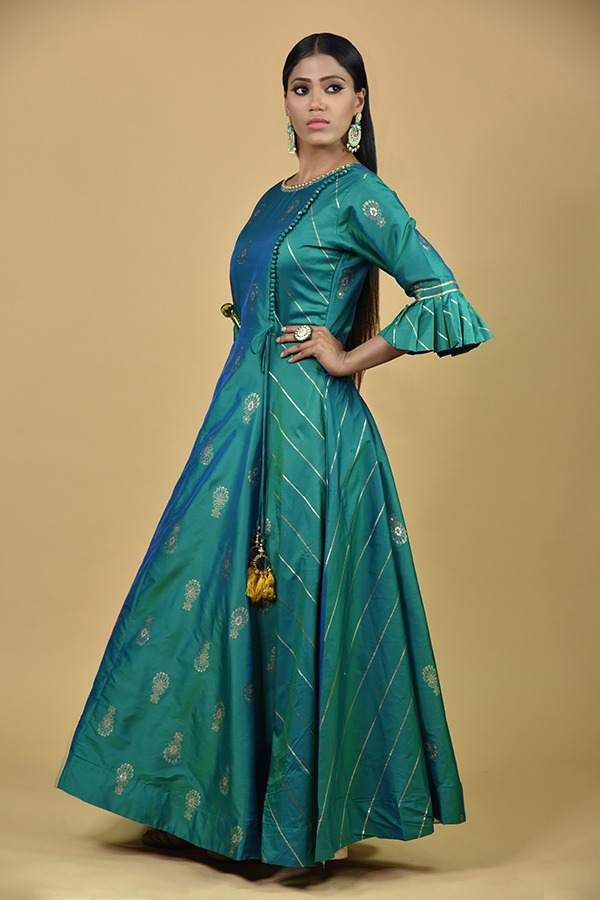 Rama Green Anarkali Dress