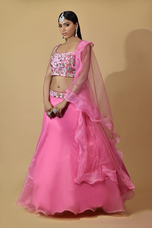 Surya Sarees | Fascia Pink Lehenga Choli | Chandni Chowk Delhi