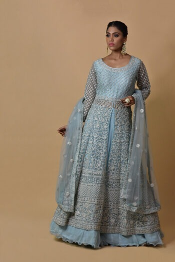 Ice Blue Color Indowestern Dress | Surya sarees | House of surya