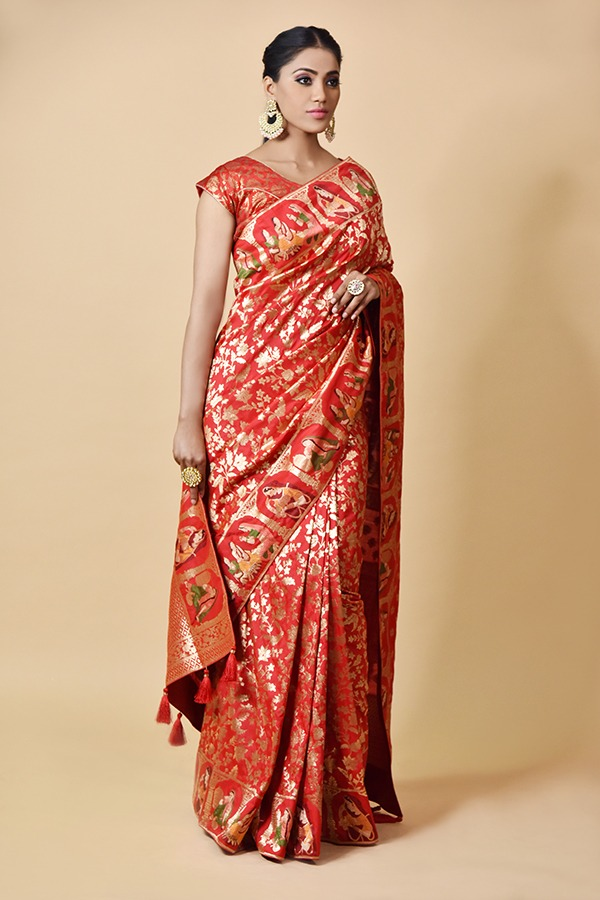 Surya saree | buy online Red Silk Saree | Maliwara Road Chandni Chowk Delhi