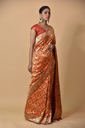 Surya Sarees | Mustard With Red Silk Saree | Chandni Chowk