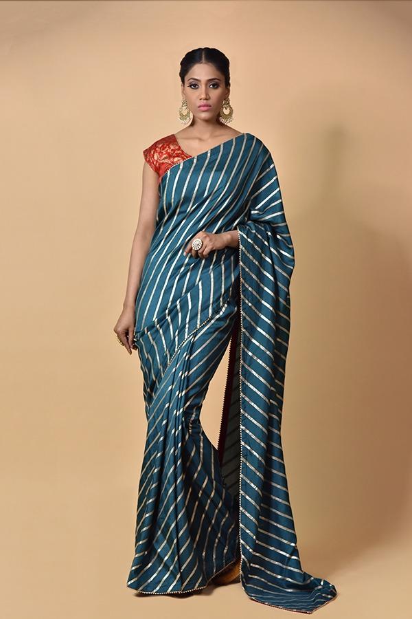 Peacock Blue Dola Silk Saree