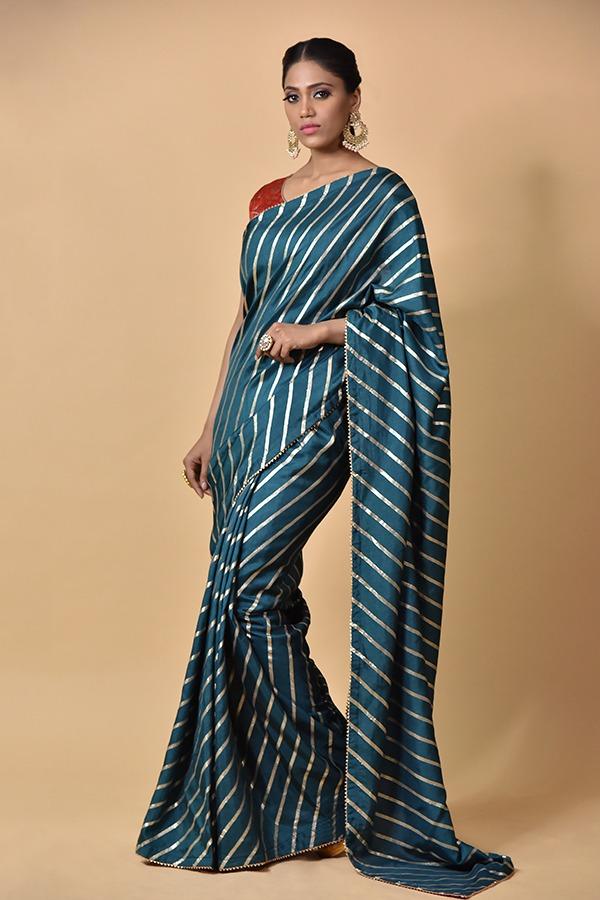 Surya Saree | Peacock Blue Dola Silk Saree