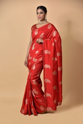 Surya Sarees | Red Dola Silk Saree | Chandni Chowk
