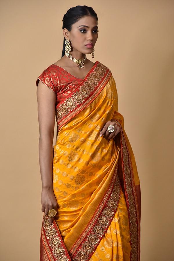 Surya Sarees  Mustard Red Khaddi Georgette saree   Chandni Chowk