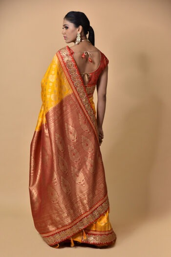 Mustard With Red Khaddi Georgette saree