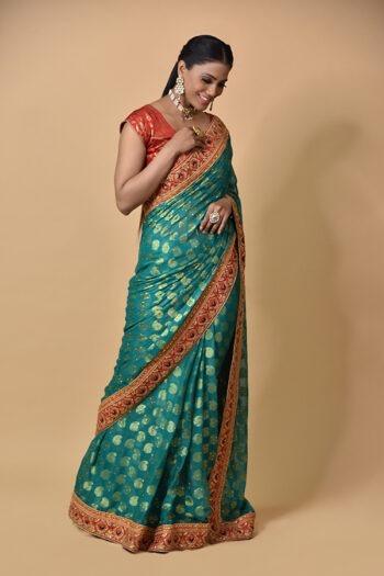 Surya Sarees | Rama Green Khadi Georgette Saree | Chandni Chowk Delhi