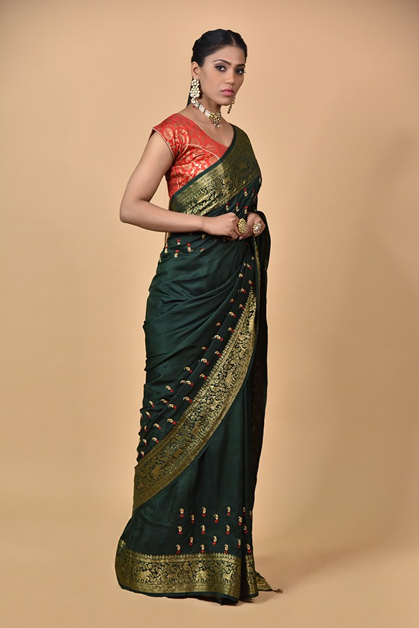 Surya Sarees | Bottle Green Dola Silk Saree | Chandni Chowk