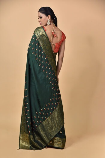 Bottle Green Dola Silk Saree