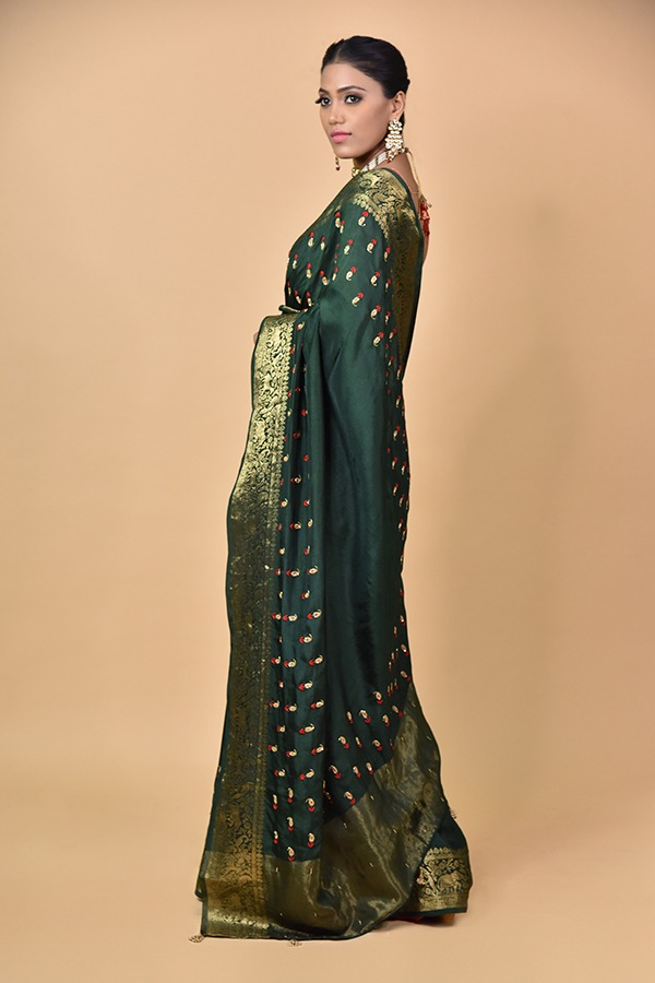 Bottle Green Dola Silk Saree