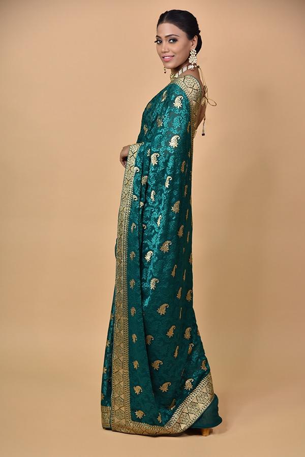 Rama Green Georgette Saree